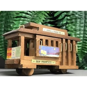 Vtg San Francisco wood musical Cable Car